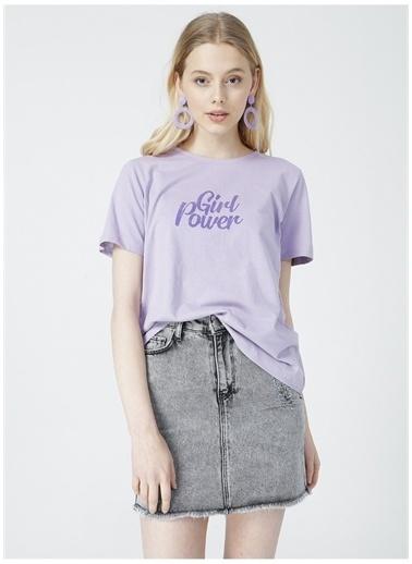 Limon Company Limon Kadın Mor Bisiklet Yaka T-Shirt Mor